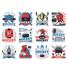 ice hockey sport championship icons vector image