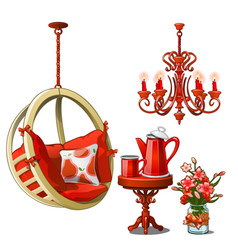 Interior of cozy cafe or kitchen in red color vector
