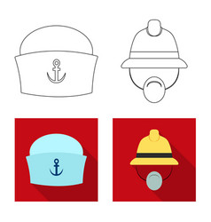 Isolated object of headgear and cap icon set of vector