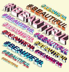 isometric hashtag - beautiful internet blogging vector image