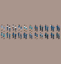 Isometric set businessmen front view and rear view vector