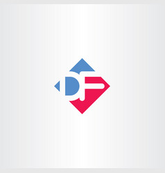 Letter d and f df logo icon vector