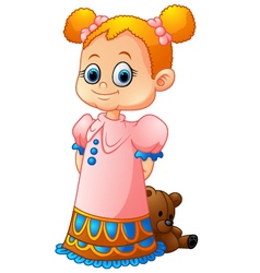 Little girl with her doll vector