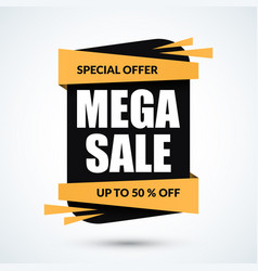 mega sale banner special discount template vector image