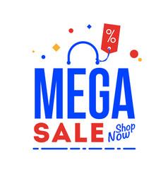 mega sale word shop now type vector image
