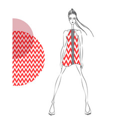 model-red-pattern vector image