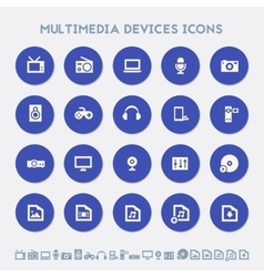 Multimedia devices icon set Multicolored square vector