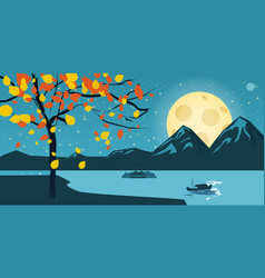 night landscape with autumn tree falling leaves vector image