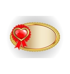 oval gold frame with heart vector image