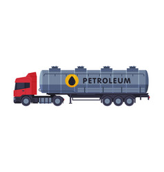 Petroleum tanker truck gasoline and petroleum vector
