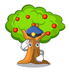 Police apple orchard with basket of cartoon vector