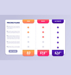 Pricing tab web table price list page vector