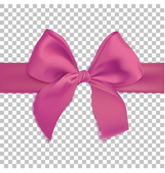 realistic pink bow isolated on transparent vector image