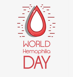 Red blood drop symbol to hemophia day vector
