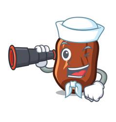 Sailor with binocular dates fruit mascot cartoon vector