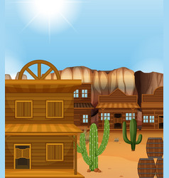 Scene with western style buildings vector