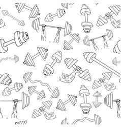 seamless dumbbell pattern isolated on background vector image