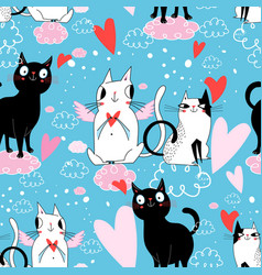seamless festive pattern with cats in love vector image