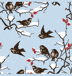 Seamless pattern sparrows on branches in a vector
