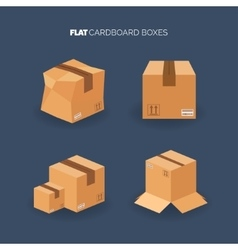 Set flat carton box delivery and vector