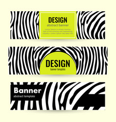 set horizontal lime banners with black stripes vector image