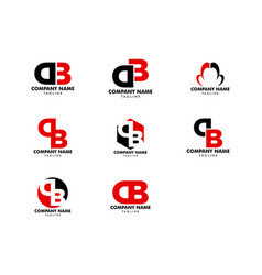 set initial letter db logo template design vector image
