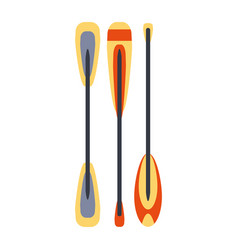 set of three kayak and raft peddles part of boat vector image