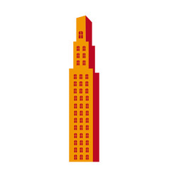 Silhouette orange color with skyscraper building vector