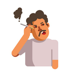 smoking unhealthy looking male person with vector image