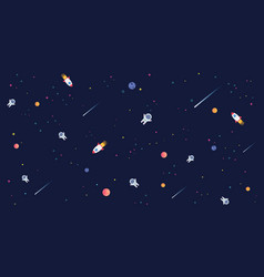 star universe with rocket astronaut and planet in vector image