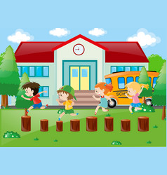 Students playing in school yard vector