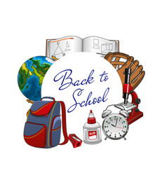 Students supplies in frame back to school frame vector