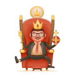 Successful businessman cute cheerful king crown vector