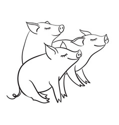 Three piglets template for greeting card black vector