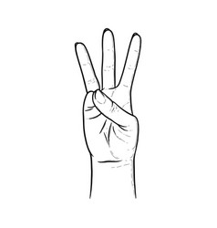 Three raised fingers fingers showing number vector