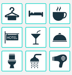 travel icons set with bathroom hairdryer meal vector image