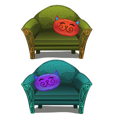 Two sofas with cushions in form of head cats vector