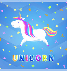 unicorn with rainbow mane and sharp horn running vector image