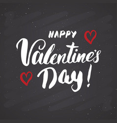 valentines day brush lettering sign grunge vector image