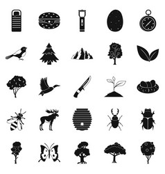 wild nature icons set simple style vector image