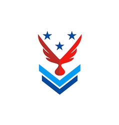 Wing eagle star military logo vector