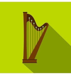 Wooden harp icon flat style vector