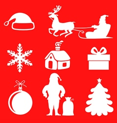 xmas sil set red vector image vector image