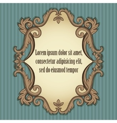 Floral vintage frame in beige and brown colors vector image