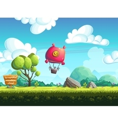 Seamless background blimp above the hills vector