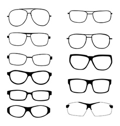 Set of different eyeglasses and sunglasses vector image vector image