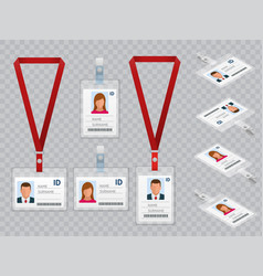 set of employees identification white blank vector image
