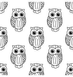 Vintage cute black owls seamless pattern vector image vector image