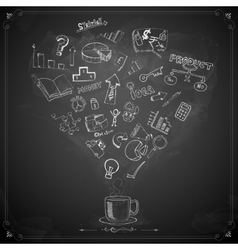Business Doodle on Chalkboard vector image vector image