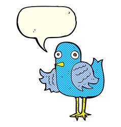 cartoon bird waving wing with speech bubble vector image vector image